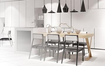 Dargestellt wird ein Bild aus dem CAD-Programm, bei welchem die Planung einer Küche zu sehen ist.