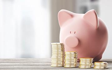 Dargestellt wird ein Rosafarbenes Sparschwein, welches hinter einer Reihe von aufgestapelten Münzen steht.